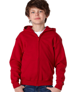 Kids Gildan Red Zip Hoodies