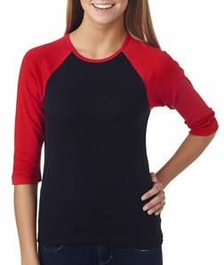 25c15dd1 Bella+Canvas – 2000 – Ladies' Baby Rib 3/4-Sleeve Contrast Raglan Tee.  Design ladies personalized Bella Canvas raglan t-shirts ...
